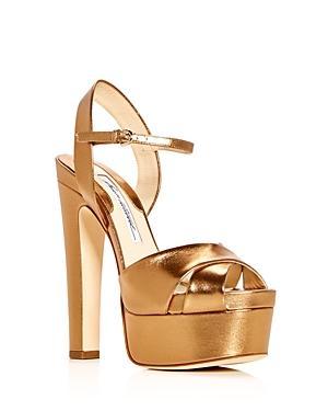 Brian Atwood Women's Madison Leather High-heel Platform Sandals In Bronze