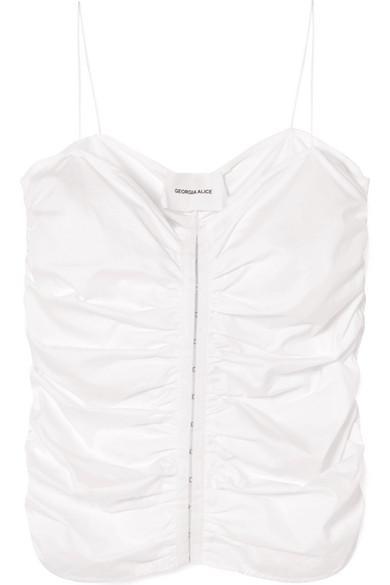 Georgia Alice Little Cloud Ruched Cotton-poplin Camisole In White