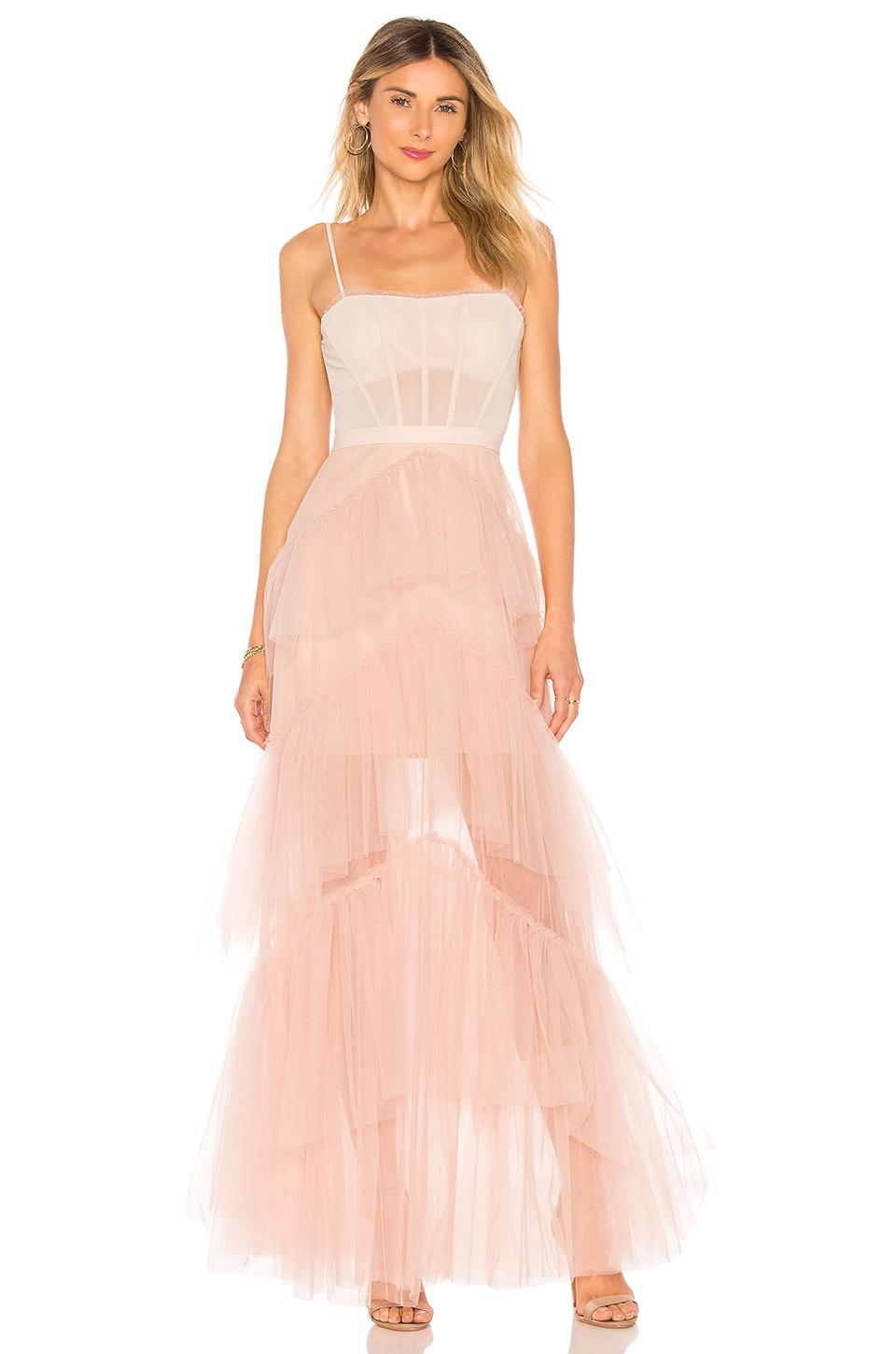 Bcbgmaxazria Oly Long Tulle Gown In Bare Pink In Blush