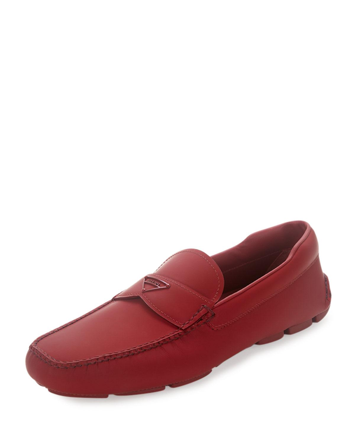 Prada Leather Slip-on Loafer With Rubber Sole In Red