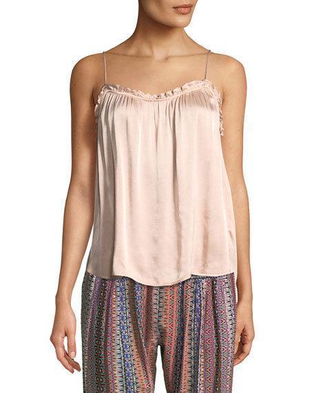 Xirena Caden Ruffled Satin Camisole In Light Pink