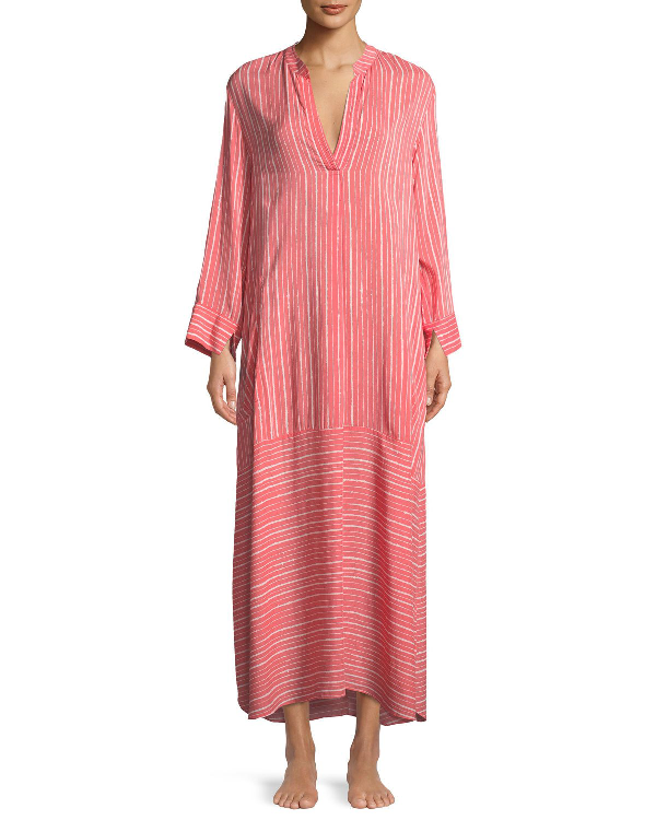 Natori Osaka Striped Long-sleeve Caftan In Multi Pattern