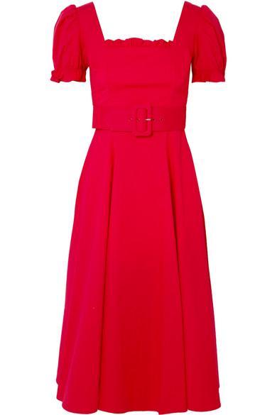 Staud Maryann Ruffled Cotton-blend Poplin Midi Dress In Red