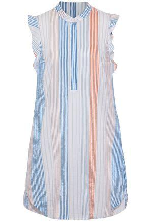 Stella Mccartney Woman Ruffled Striped Cotton-blend Mini Dress Multicolor