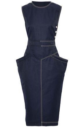 Stella Mccartney Woman Wrap-effect Button-detailed Twill Dress Navy