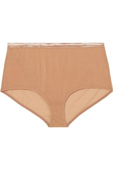 Baserange Luanda Metallic Stretch-mesh Briefs In Sand