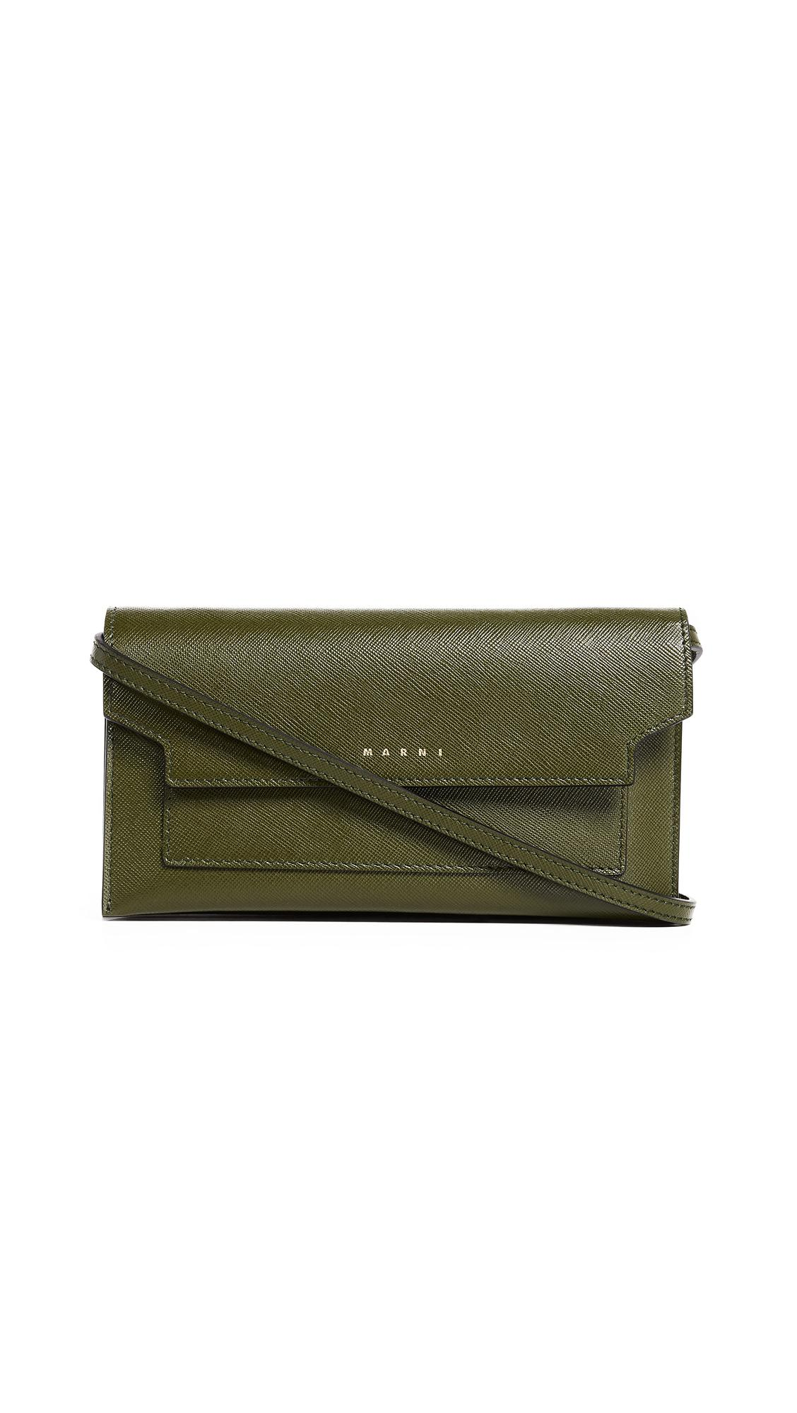 Marni Cross Body Wallet Bag In Olive Green/gold Brown