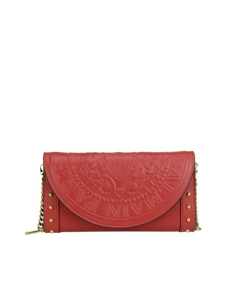 Balmain Continental Chain Wallet In Red