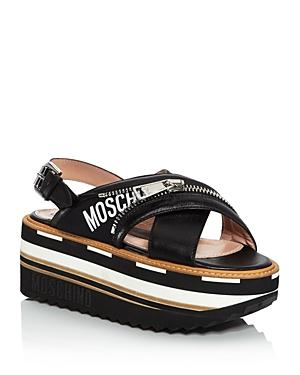 Moschino Women's Leather Slingback Platform Sandals In Black