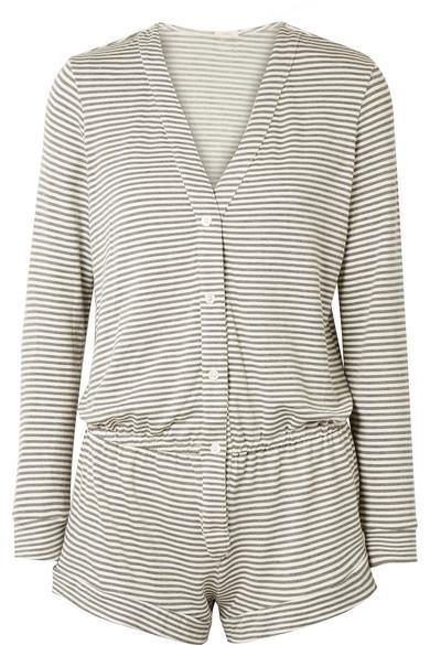Eberjey Sadie Striped Stretch-modal Jersey Playsuit In Gray