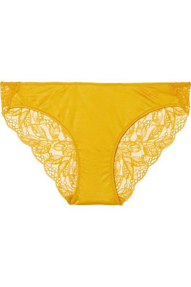 Hanro Fleur Stretch-satin And Leavers Lace Briefs In Marigold
