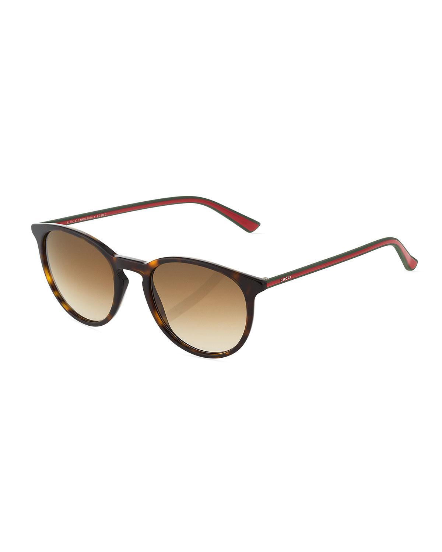 Gucci Tortoise-print Round Acetate Sunglasses, Dark Brown