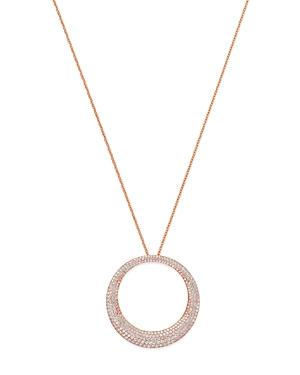 Roberto Coin 18k Rose Gold Scalare Diamond Large Open Pendant Necklace, 16 In White/rose Gold