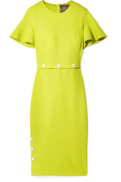Lela Rose Convertible Wool-blend Crepe Midi Dress In Chartreuse