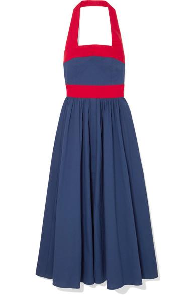 Staud Waikiki Two-tone Poplin Halterneck Dress In Blue