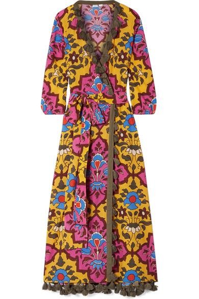 Rhode Lena Tasseled Printed Cotton-voile Maxi Dress In Pink