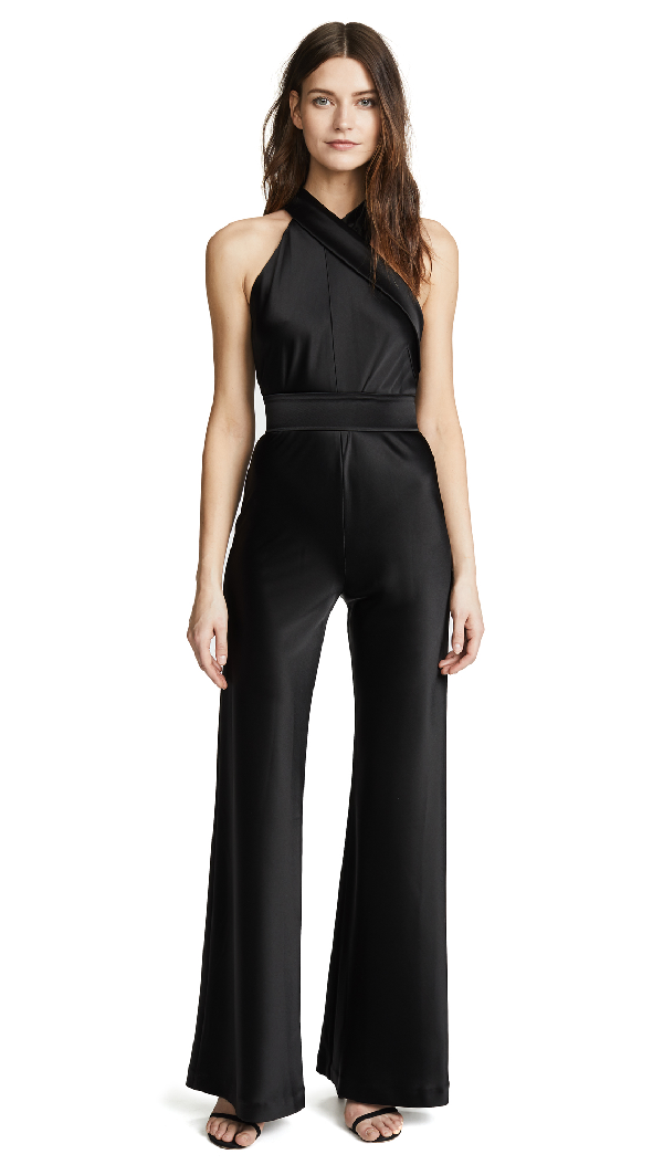 Galvan Sleeveless Halter Flared-leg Satin Jumpsuit W/ Sash Detail In Black
