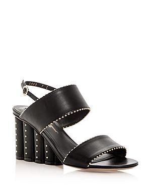 Salvatore Ferragamo Women's Gavi Leather Floral Wedge Slingback Sandals In Black