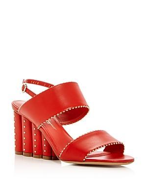 Salvatore Ferragamo Women's Gavi Leather Floral Wedge Slingback Sandals In Lipstick