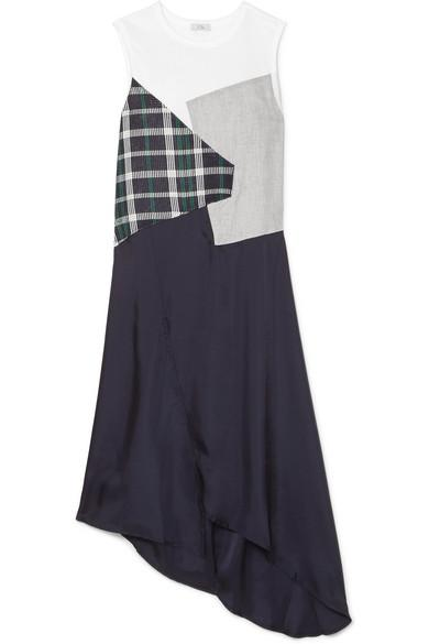 Clu Asymmetric Paneled Checked Cotton And Satin Dress In White