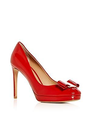 Salvatore Ferragamo Women's Osimo Patent Leather High-Heel Platform Pumps In Lipstick