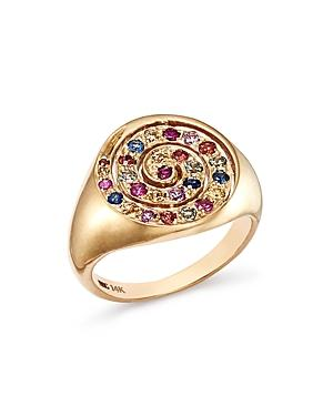 Shebee 14k Yellow Gold Multicolor Sapphire Spiral Signet Ring In Multi/gold