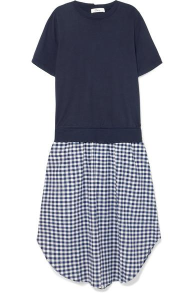 Clu Cotton-jersey And Gingham CloquÉ Midi Dress In Navy