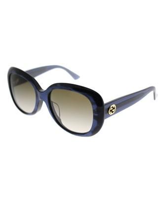 Gucci Gg0140sa 003 Blue Oval Sunglasses