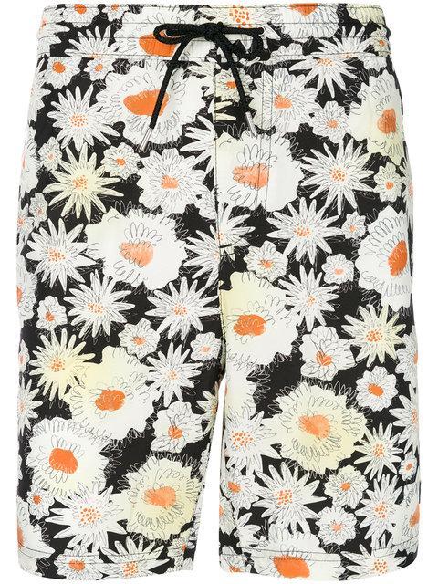 Burberry Daisy Print Swim Shorts In Daisy.blk