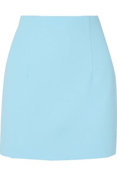 Off-white High-waisted Cady Miniskirt In Light Blue