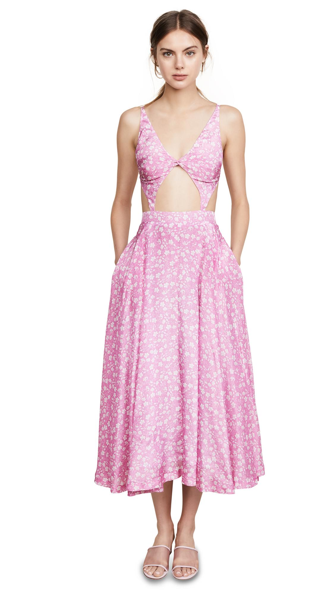 Pushbutton V Neck Cutout Dress In Pink