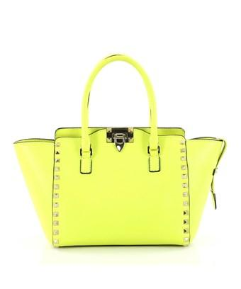 Valentino Pre-owned: Rockstud Tote Rigid Leather Small In Yellow