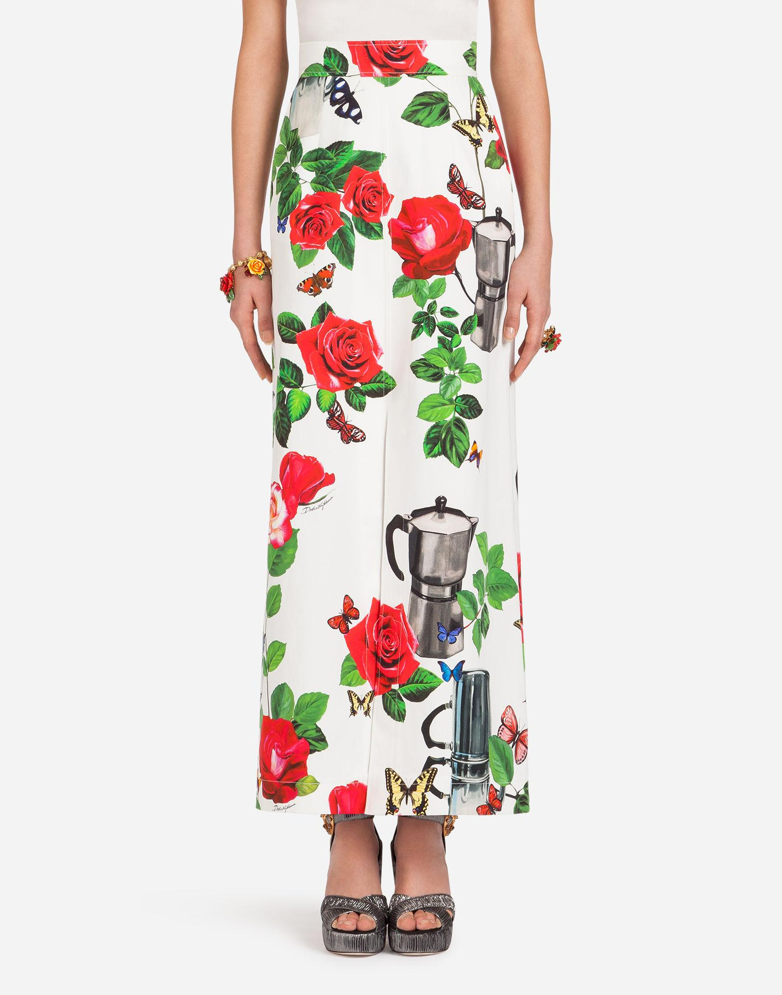 1078da17a06 Dolce & Gabbana Long Skirt In Printed Cotton Drill In White | ModeSens