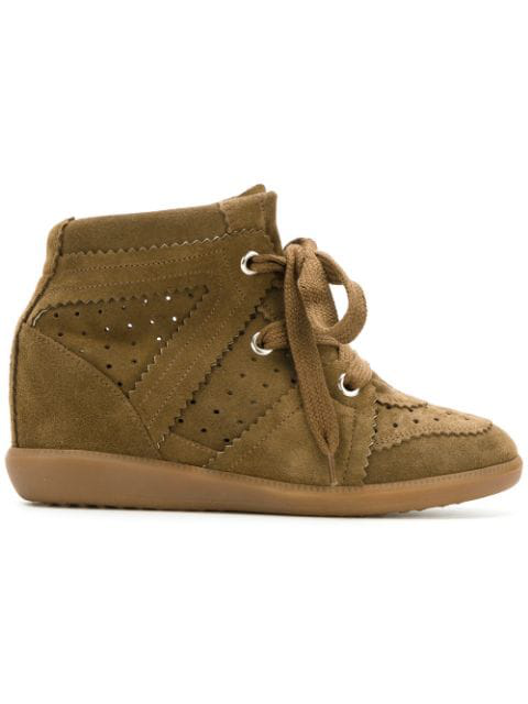 Isabel Marant The Bobby Suede Wedge Sneakers In 50Bw Brown