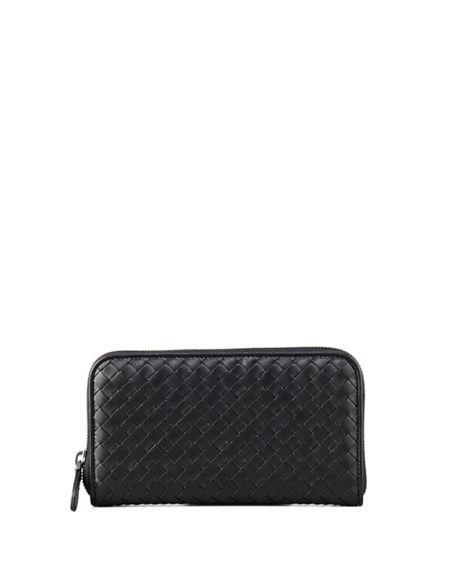 Bottega Veneta Intrecciato Zip Continental Leather Wallet In Black