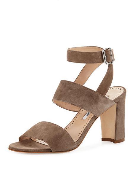 fdb41102ef3 Manolo Blahnik Khanstrap Suede Chunky-Heel Sandal In Taupe