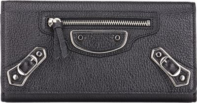 Balenciaga Metallic Edge Money Wallet - Noir
