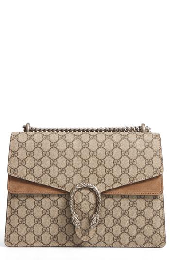 655ca98fa75 Gucci Large Dionysus Gg Supreme Canvas   Suede Shoulder Bag - Beige In Beige  Ebony