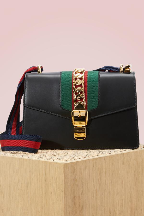 3d44ded2ad99 Gucci Sylvie Leather Mini Chain Shoulder Bag In Nero-Vrv-Brb | ModeSens