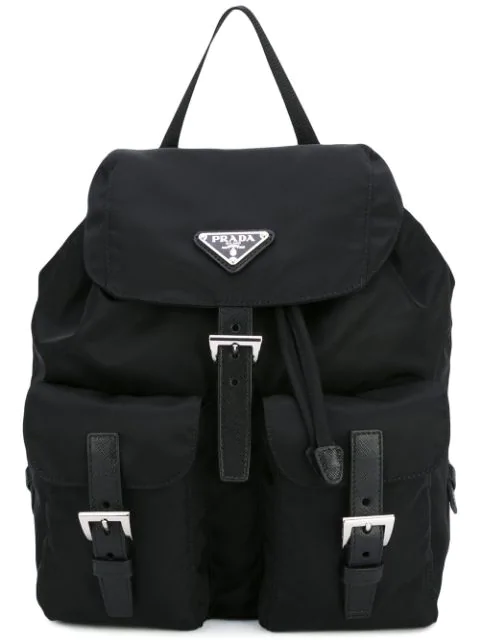 Prada Vela Large Leather-trimmed Shell Backpack In Black