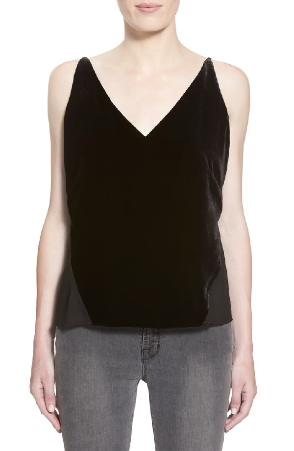 J Brand 'Lucy' Velvet Front Camisole In Black