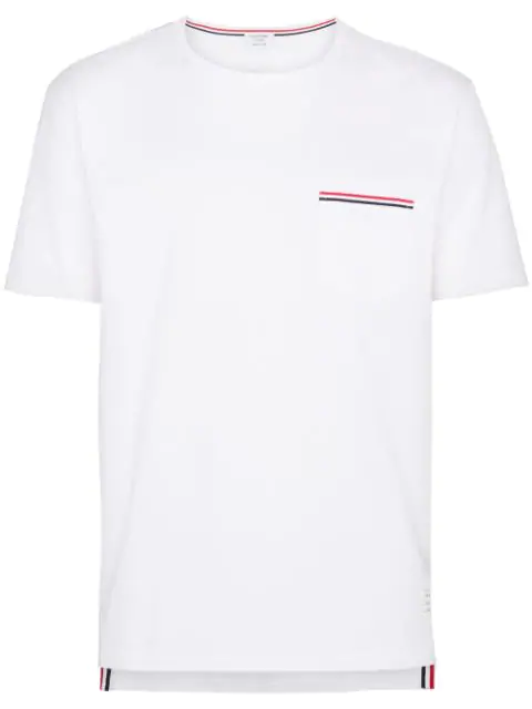Thom Browne Grosgrain-trimmed Lightweight Cotton-jersey T-shirt In White