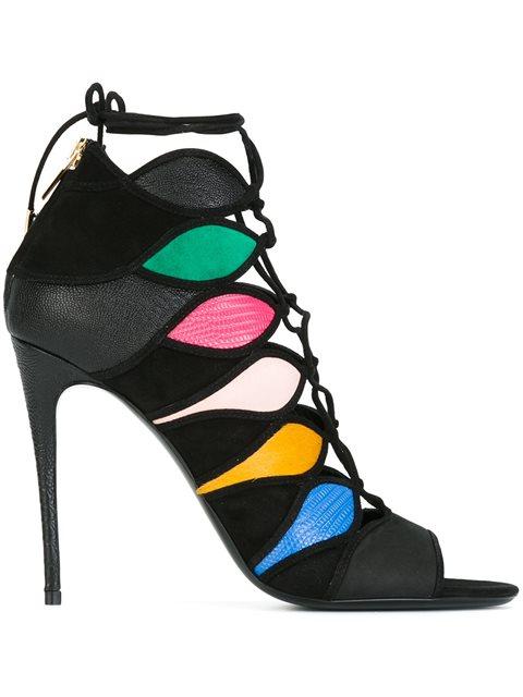Salvatore Ferragamo Women's Leather Heel Sandals Felicity In Black