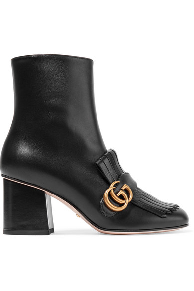 1c11af15cb3 Gucci Marmont Fringed Logo-Embellished Leather Ankle Boots In 1000 Black