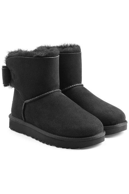 Ugg Mini Bailey Bow Shearling Lined Suede Boots In Black
