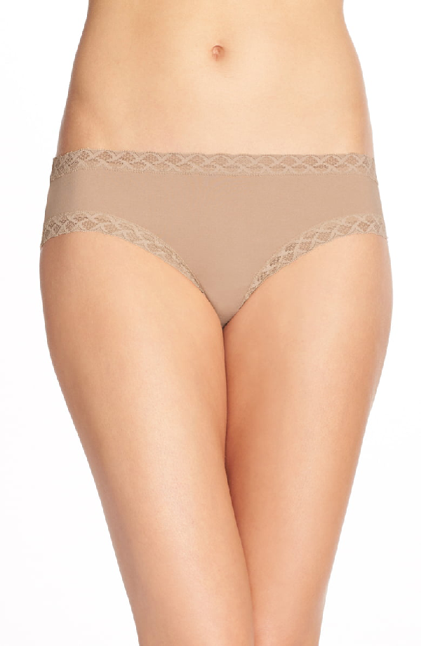 9ecb85b5db07 Natori Bliss Lace-Trim Cotton Brief 156058 In Cafe- Nude 01 | ModeSens