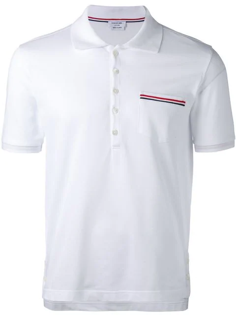 3dd4dd2e Thom Browne Heather Polo Shirt With Striped Pocket In 100 White ...