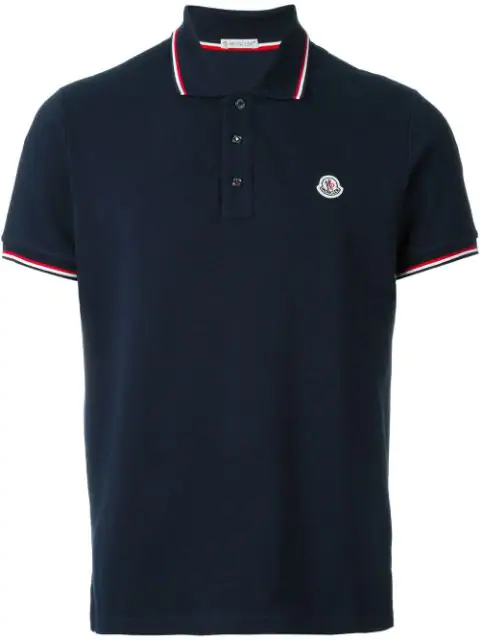 Moncler Piped Collar Polo Shirt In Blue