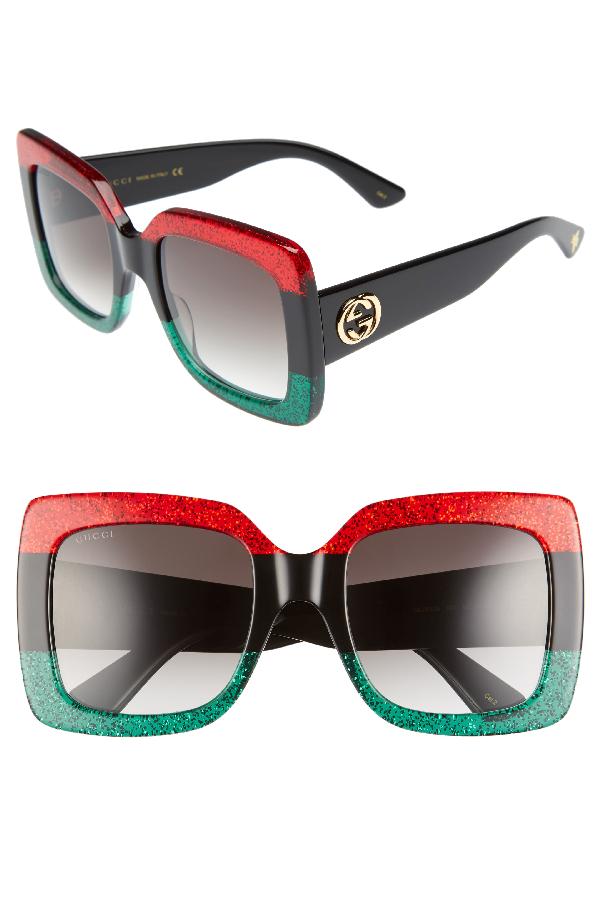 f4e1388d461 Gucci Glittered Gradient Oversized Square Sunglasses