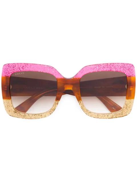 Gucci Glittered Gradient Oversized Square Sunglasses, Fuchsia/Havana/Gold In 002